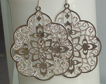 Sale  - Big bold bohemian earrings in silver lace filigree