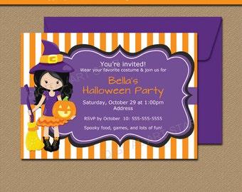 Printable Kids Halloween Invitation - Kids Halloween Birthday Invitation Template - Girl Halloween Invites - EDITABLE Witch Invitations  WDS
