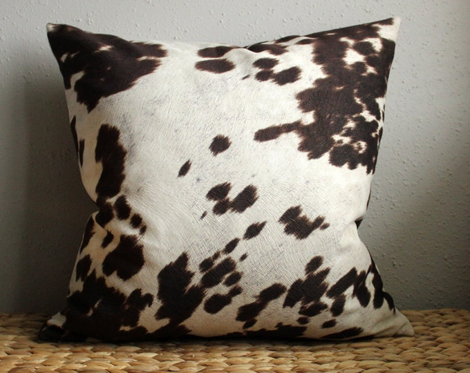 DISCONTINUED brown and white cow print pillow