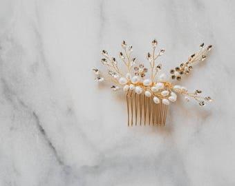 Gold Hair Comb | Gold Leaf Hair Comb | Pearl Hair Vine | Gold Headpiece | Pearl Hair Comb | Gold Leaf Comb | Bridal Hair Comb | Gia