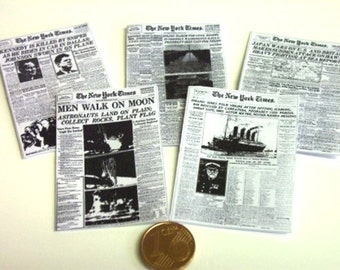 2014# Newspapers New York Times - 5 Pc - Doll house miniature