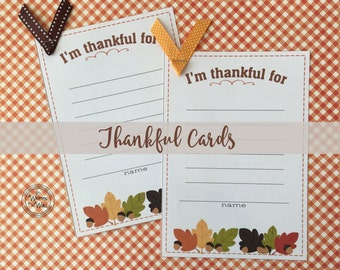 Thanksgiving I'm Thankful Cards  The PERFECT Size for Kids & Adults Thanksgiving Kids table