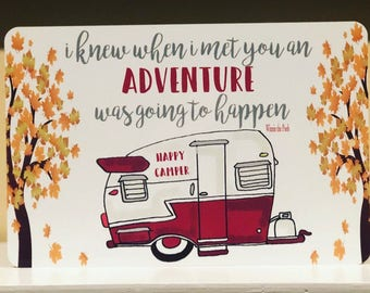 New - Happy Camper Metal Sign - Camping Decor -Camping Quote Sign - Couples - Red Camper - Home Decor