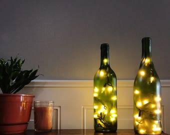 Green Frosted Wine Bottle Lights