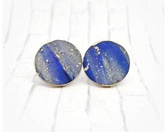 Blue faux stone earrings nickel free earrings lightweight earrings round earrings gift for her blue and gold earrings Christmas gift