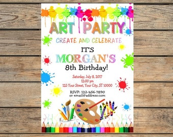 Art Party Invitation, Painting Party Invitation, Art Theme Birthday Party Invite, Digital or Printed
