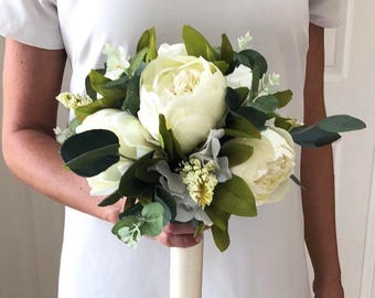 Cream Peony Bouquet, Cream Bridesmaid Bouquet, Silk Peony Bouquet, White Peony Bouquet, Eucalyptus Bouquet, Boho Bouquet, Bohemian Bouquet,
