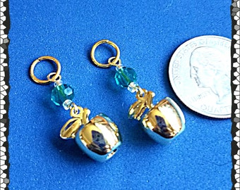 Hearing Aid Charms:  Shiney Golden Apples with Glass Accent Beads!