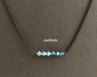 Swarovski crystal bar necklace with two blue colors