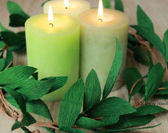 Green Paper Leaves Garland, Rustic Wedding Party Garland, Wedding Paper Greenery, Wedding Arch Garland, Garland Greenery, Chair Garland