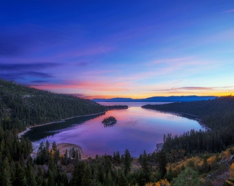 Emerald Bay Lake Tahoe Photography Print California Sunrise Fine Art Photograph Wall Decor | Also Available on Canvas or Metal