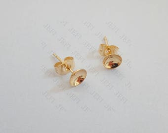 Wholesale 100 Earring Posts- 24K Gold Plated Surgical Steel Hypo-Allergenic Ear Studs W/ 4mm/ 6mm/ 8mm Cup Bezel Setting W/ Ear Nuts