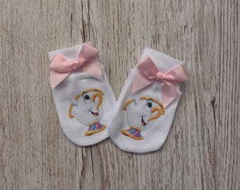 """Beauty and the beast inspired """"Chip"""" Baby Scratch Mitts with pink bow"""