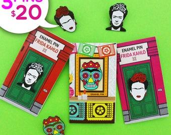 Frida Kahlo Enamel Pins Bundle - Frida Kahlo cejas - Frida Kahlo Portrait - Frida Kahlo Sugar Skull