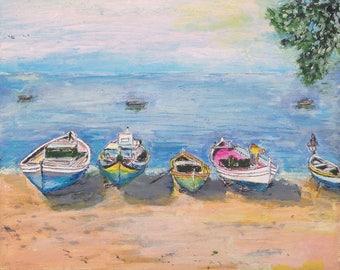 Acrylic painting of Fishing Boats