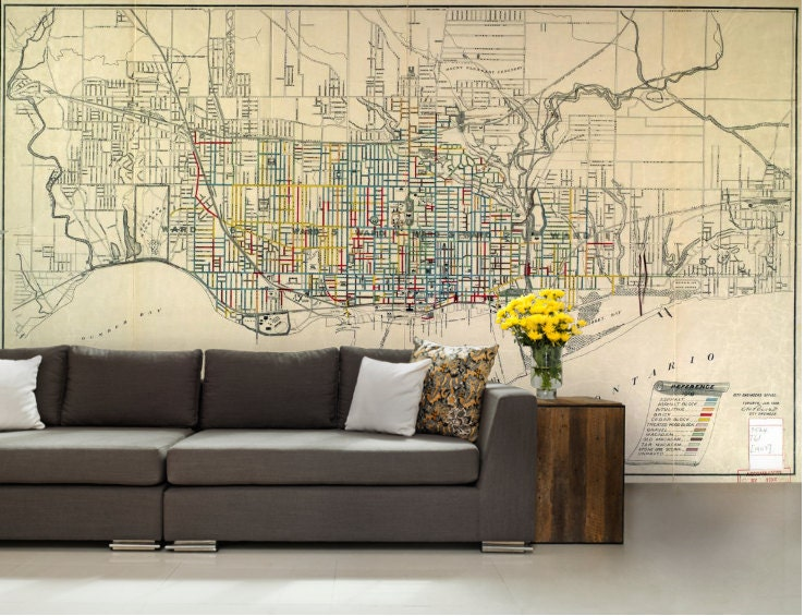 City map wallpaper street wall mural toronto city map request a custom order and have something made just for you gumiabroncs Choice Image