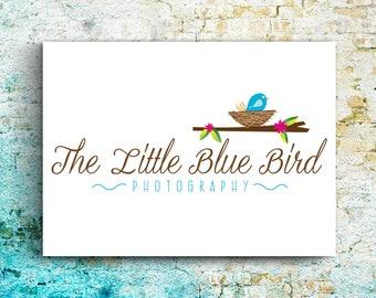 Premade Logo Blue Bird; Nest; Branch; Leaves, Customizable