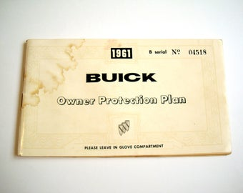 1961 BUICK Owner Protection Plan Booklet GM General Motors LeSabre Warranty Service Maintenance Inspection Policy User Guide Delco Battery