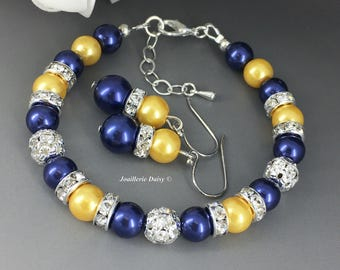 Bridesmaid Gift Maid of Honor Bracelet Bridesmaid Bracelet Navy and Yellow Wedding Jewelry Gift for Her Navy Bracelet  Jewelry on Sale