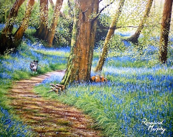 Through the Bluebells (print of original acrylic painting)