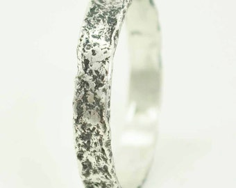 Raw Sterling Silver Ring, Organic, Textured, Metalsmith Jewelry