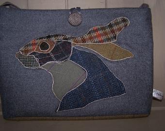 Tweed Patchwork Hare bag. Patchwork rabbit, tartan, Harris tweed, shoulder bag, gift for her, birthday gift, nature lover gift, Pagan, Wicca