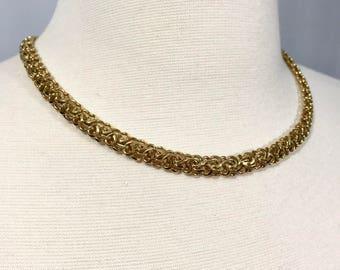 Trifari Gold Chain Choker Necklace || Vintage Trifari || Gold Tone Necklace || Gold Choker || Vintage Jewelry