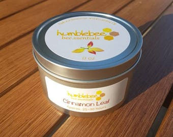 8 OZ {Cinnamon Leaf} candle tin - Beeswax combined with cinnamon leaf essential oil*CLEARANCE*