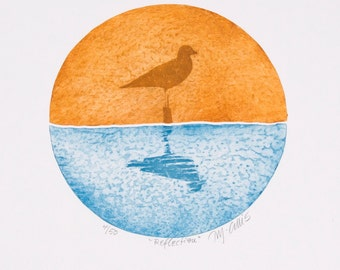 seagull art print, bird wall art, reflections art print, silhouette print, orange, blue, seaside print, ocean art, beach art,