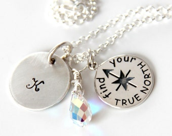True North Necklace - Inspirational Gift - Graduation 2015 - Yoga Necklace - Graduate Gift -Compass Necklace - Mentor Gift - Seeker-