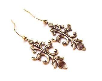 Victorian Earrings, Fleur De Lis Earrings, Gold Earrings, 14k gold filled, hooks, brass, vintage style, dangle, fall fashion