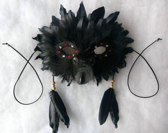 SOLD Spirit/Totem Animal (CROW) Mask ( AVAILABLE Made to order)