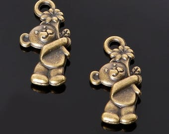 set of 3 Teddy bear with flower charms