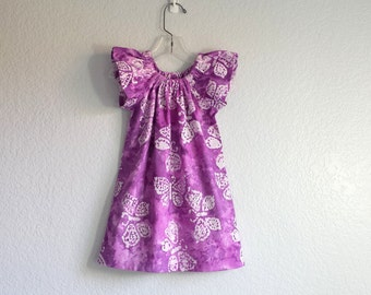 Girls Purple and White Batik Dress - Purple Dress with White Butterflies - Girls Flutter Sleeve Dress - Size 12m, 18m 2T, 3T, 4T, 5, 6 or 8