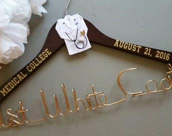 Personalized Doctor Hanger, Doctor Gift, Medical School Graduation Gift, White Coat Ceremony Gift, Custom Doctor Hanger, 1st White Coat