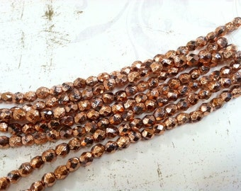 6mm Copper Stardust Firepolish Glass, 6mm Faceted Copper Glass, 6mm Copper Firepolish, Copper Glass Bead, 6mm Capri Etched Glass, Copper