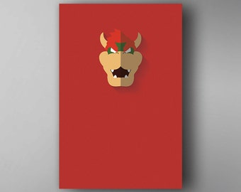 Bowser Inspired. Minimalistic. Mario. Video Game Poster. Wall Art.