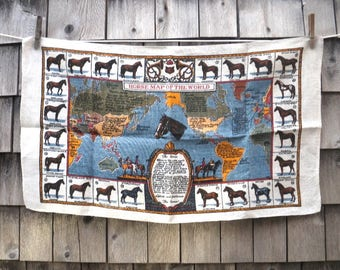 Horse Map of the World Linen Towel 24 Breeds Never Used