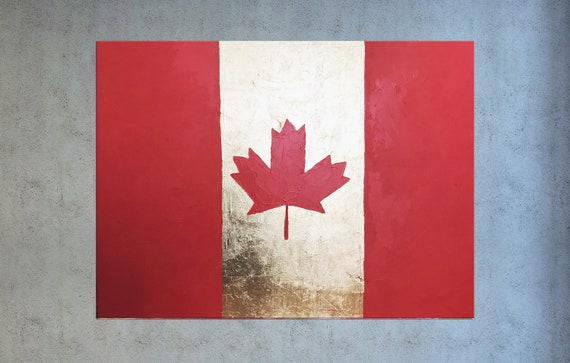 Country Home Decor Canada Flag Art Country Map Art Country