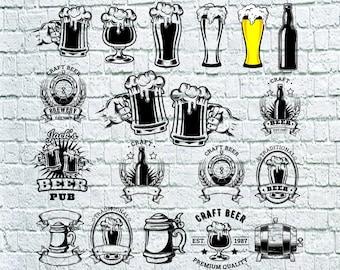 Beer Mug Svg Bundle, Beer Bottle Svg, Drink Svg, Craft Beer Clipart, Decal, Stencil, Cut File, Cricut File, Dxf, Eps, Png, Svg File