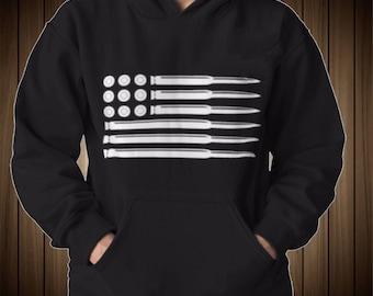 Bullet American Flag Sweatshirt Hoodie