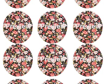 Black and Pink Floral Print Edible Images Cupcake / Cake Topper