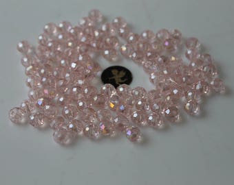 40 rose faceted round 8 mm glass beads - jewelry