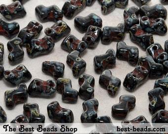 30pcs Black Travertine Double Hole Zorro Beads 6x5mm