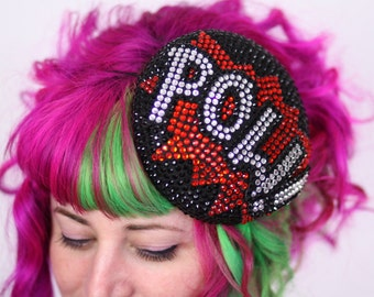 POW Pill Box Cocktail Hat, Races Hat, Rhinestones, Black, Red, Crystal