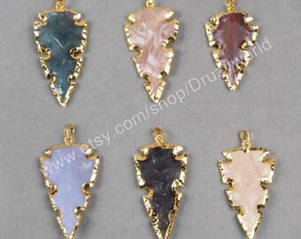 Wholesale Pretty Gold Plated Rough Natural Jasper Arrowhead Pendant Bead Natural Colorful Gemstone Arrow Jasper Jewelry Making Jewelry G0786