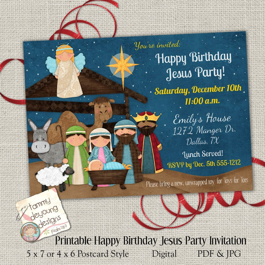 Christmas party invitation happy birthday jesus party invite zoom bookmarktalkfo Gallery