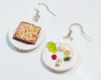 Passover Earrings - Polymer Clay Seder plate and Matzah