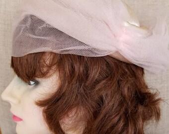 "Vintage Women's Veiled Textured Satin Pink Hat ""Ena Mae Modes"""