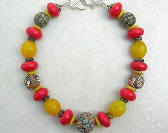 """Red & Yellow Cultural Mix, 5 Jatim Glass Face Beads, Old African """"Egg"""" Beads, Red Tibetan Resin Beads, Silk Road Necklace by SandraDesigns"""